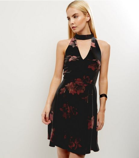 Black Floral Print Choker Neck Skater Dress | New Look