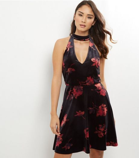 Tall Black Floral Print Velvet Skater Dress | New Look