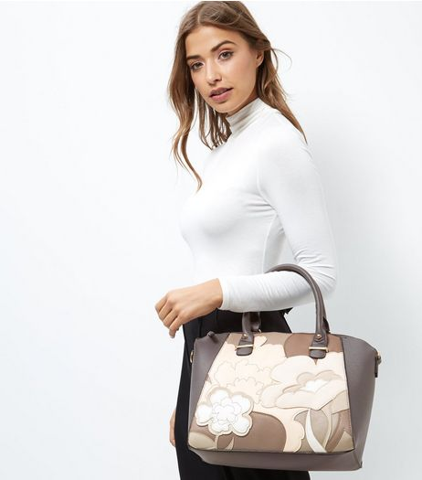 Mink Floral Print Panel Handbag | New Look