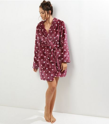 Red Heart Print Hood Robe | New Look