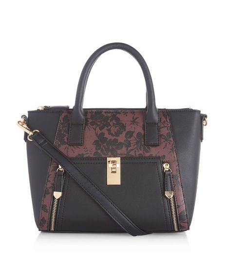 Burgundy Floral Print Panel Tote Bag | New Look