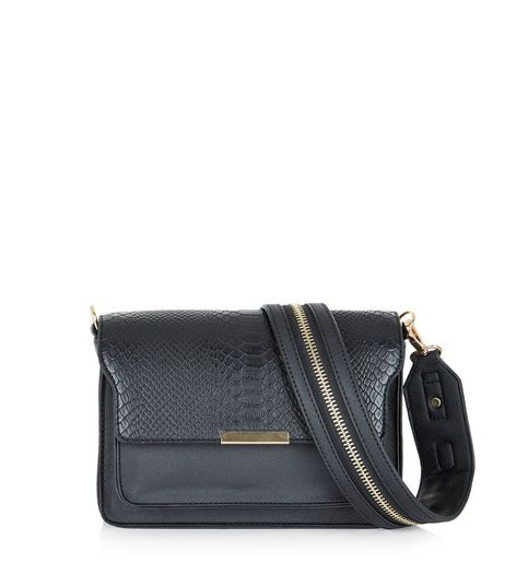 Black Metallic Zip Bag Strap | New Look