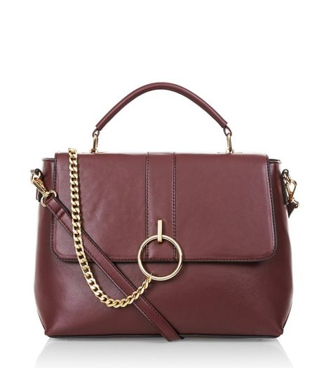 Burgundy Chain Satchel Bag | New Look