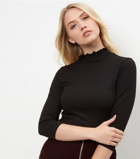 Black Frill Ribbed Turtle Neck Jumper | New Look