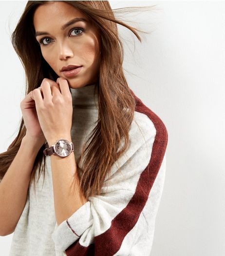 Dark Brown Leather-Look Floral Print Watch  | New Look