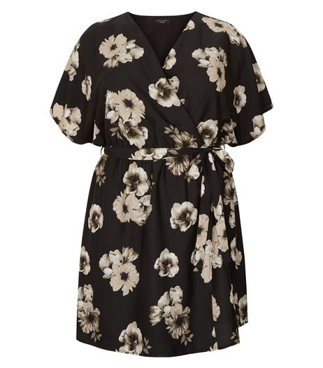 Curves Black Floral Print Wrap Dress | New Look