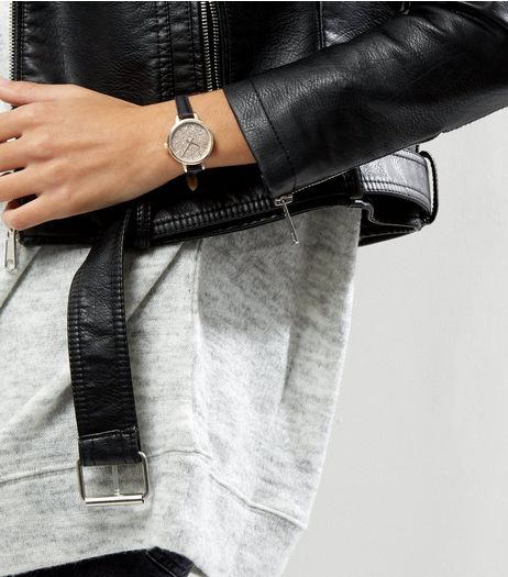 Black Leather-Look Glitter Face Watch  | New Look