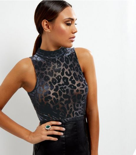Black Animal Print Textured Sleeveless Bodysuit  | New Look