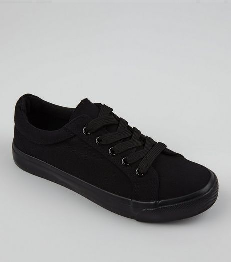 Teens Black Canvas Lace Up School Plimsolls | New Look