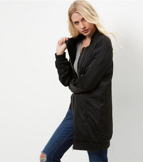 Tall Black Sateen Longline Bomber Jacket  | New Look