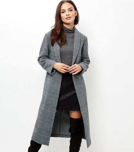 Tall Grey Check Maxi Coat  | New Look