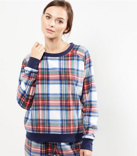 White Check Cuffed Pyjama Top | New Look