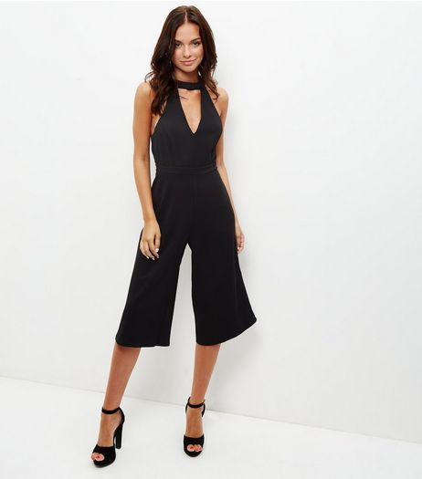 Black Choker Culotte Jumpsuit  | New Look
