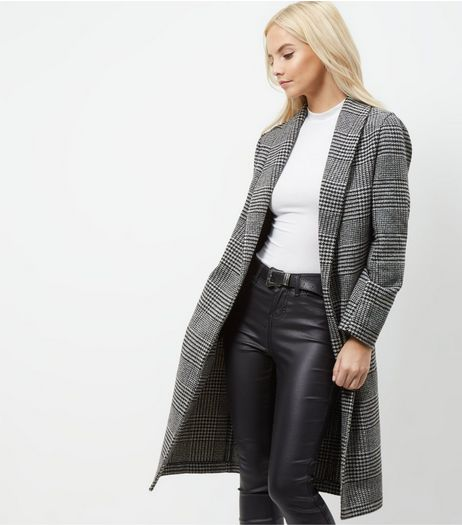 Petite Black Check Longline Coat  | New Look