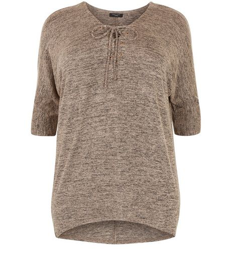 Curves Camel Lace Up 3/4 Sleeve Top | New Look