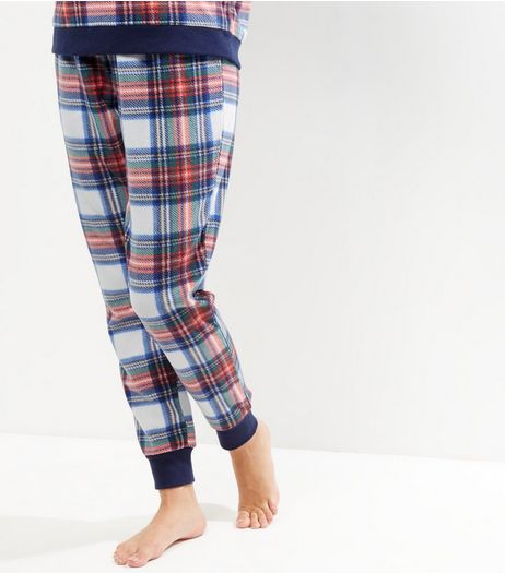 White Check Tie Waist Pyjama Bottoms  | New Look