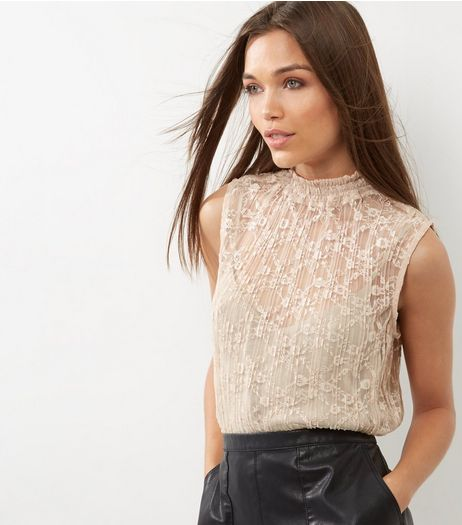 Cream Pleated Lace Funnel Neck Sleeveless Top | New Look