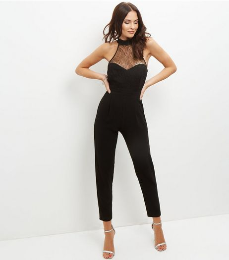 Black Sheer Lace Panel Funnel Neck Jumpsuit  | New Look