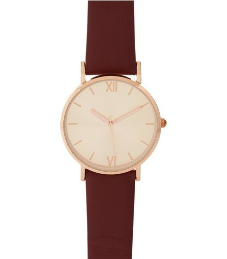 Dark Red Leather Look Strap Watch | New Look