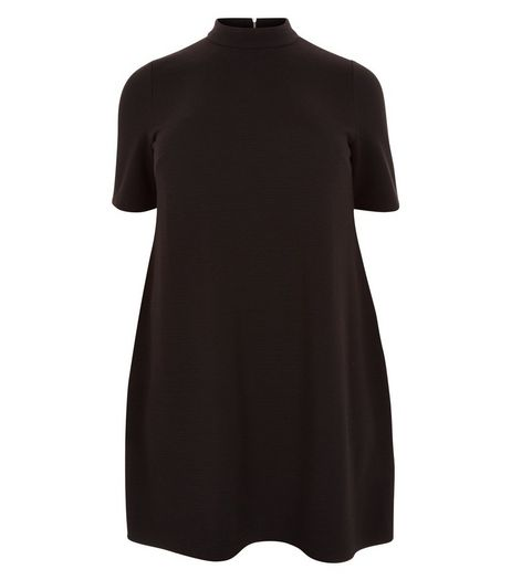 Curves Black Funnel Neck Tunic Dress | New Look