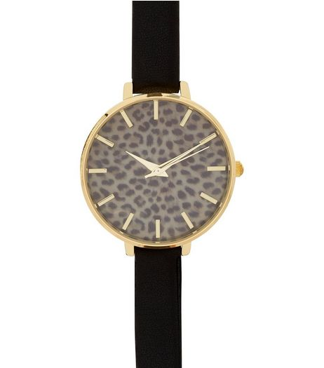 Black Leopard Print Face Skinny Strap Watch | New Look