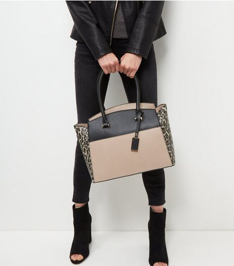 Brown Leopard Print Colour Block Tote Bag | New Look