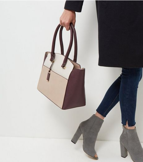 Burgundy Colour Block Tote Bag  | New Look