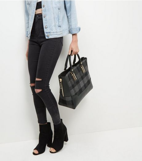 Black Check Panel Tote Bag | New Look