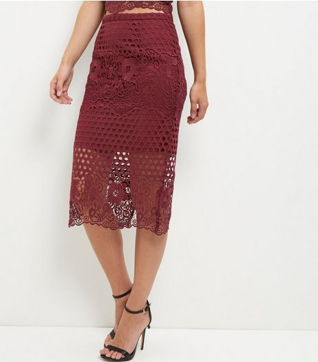 Burgundy Premium Circle Lace Pencil Skirt | New Look
