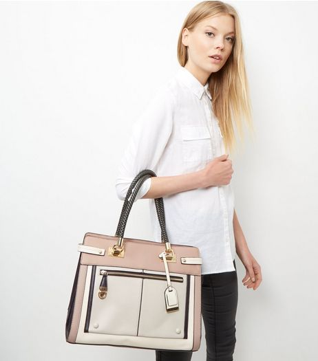 Mink Colour Block Zip Front Tote Bag | New Look