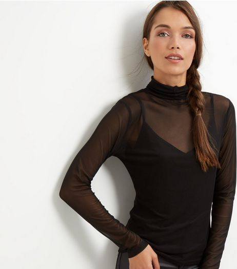 Black Mesh 2 in 1 Frill Trim Funnel Neck Top  | New Look