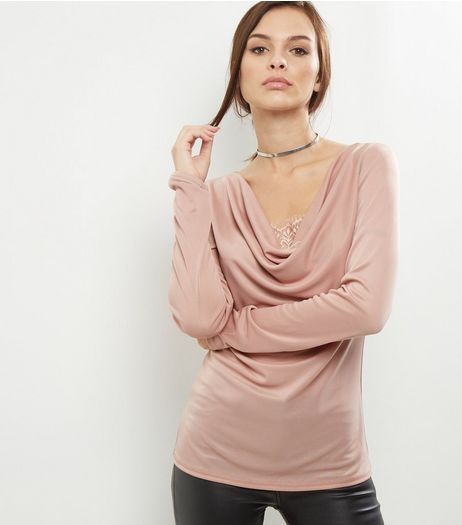 Mid Pink Lace Panel Cowl Neck Top  | New Look