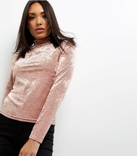 Mid Pink Crushed Velvet Funnel Neck Long Sleeve Top  | New Look