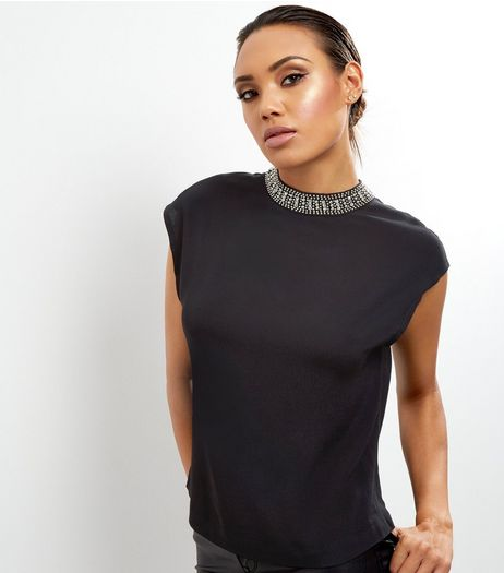 Black Embellished Trim T-Shirt  | New Look