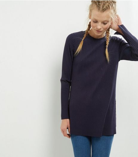 Navy Split Side Longline Tunic | New Look