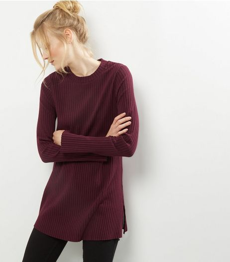 Burgundy Split Side Longline Tunic | New Look