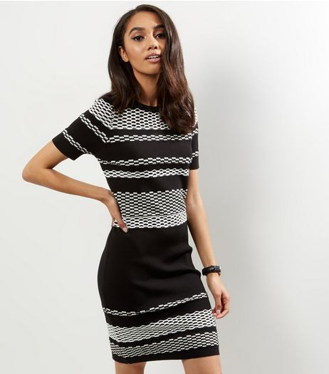 Petite Black Textured Stripe Bodycon Dress | New Look