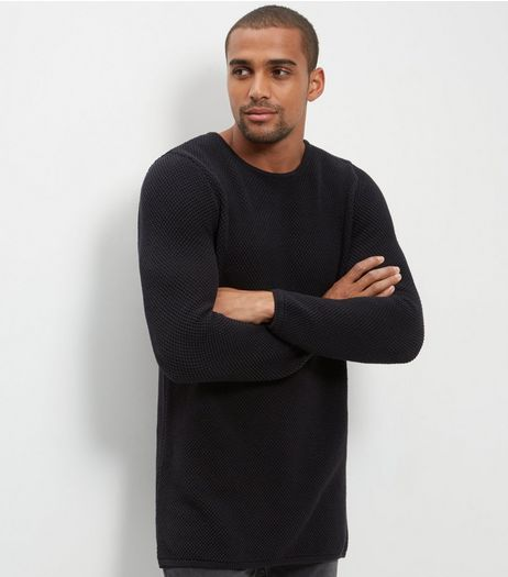 Black Longline Long Sleeve Knit Jumper | New Look