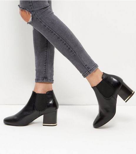 Wide Fit Black Leather Metal Trim Chelsea Boots | New Look