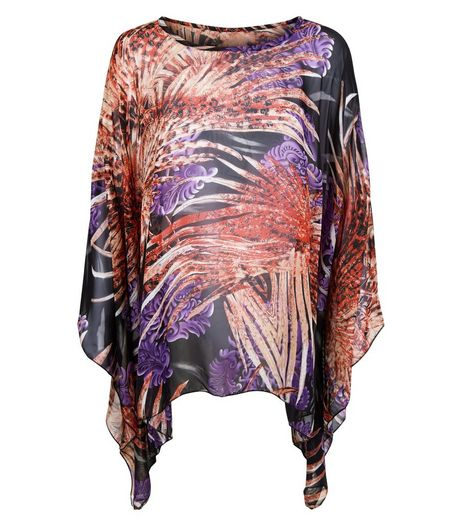 Blue Vanilla Black Abstract Print Oversized Top | New Look