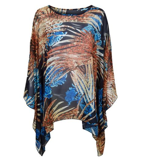 Blue Vanilla Blue Abstract Print Oversized Top | New Look