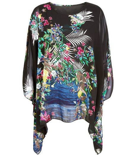 Blue Vanilla Black Floral Print Chiffon Oversized Top | New Look