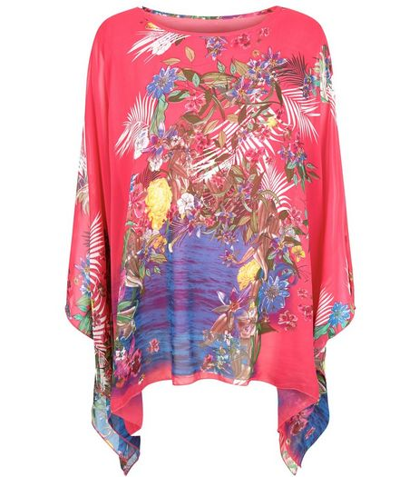 Blue Vanilla Pink Floral Print Chiffon Oversized Top | New Look