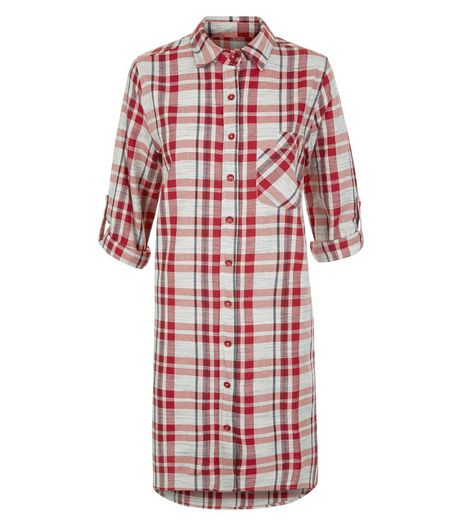 Blue Vanilla Red Check Longline Shirt | New Look