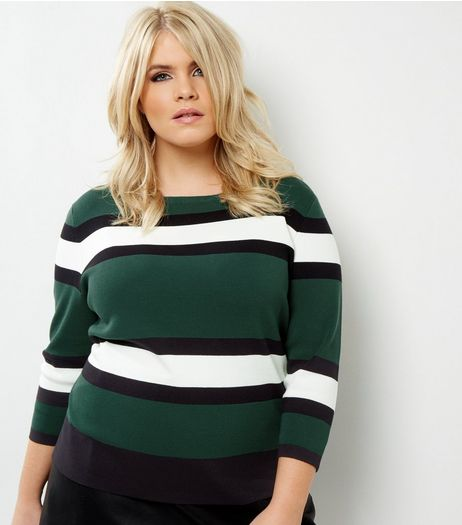 Curves Green Block Stripe 3/4 Sleeve Jumper | New Look