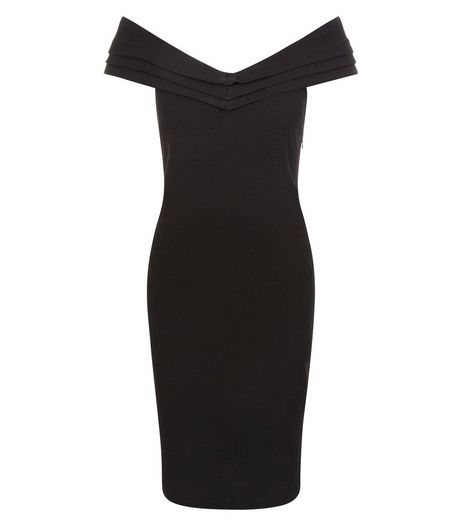 Blue Vanilla Black Bardot Neck Dress | New Look