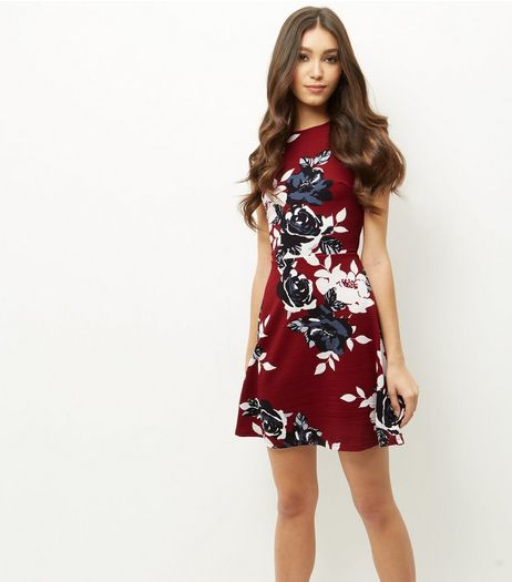 AX Paris Burgundy Floral Print Skater Dress | New Look
