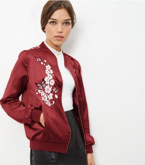 Blue Vanilla Dark Red Embroidered Bomber Jacket | New Look