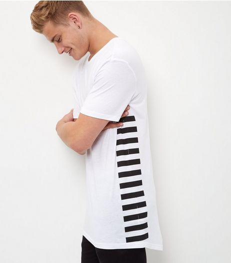 White Stripe Side Longline T-Shirt  | New Look