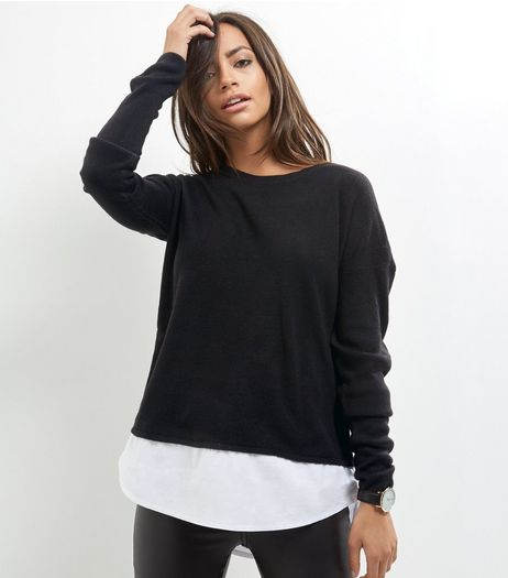 Tall Black 2 In 1 Crew Neck Jumper | New Look